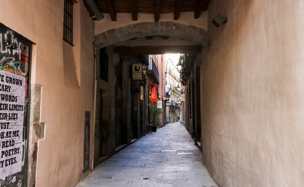 Barcelona's Gothic Quarter is famous for its winding streets and alleyways.